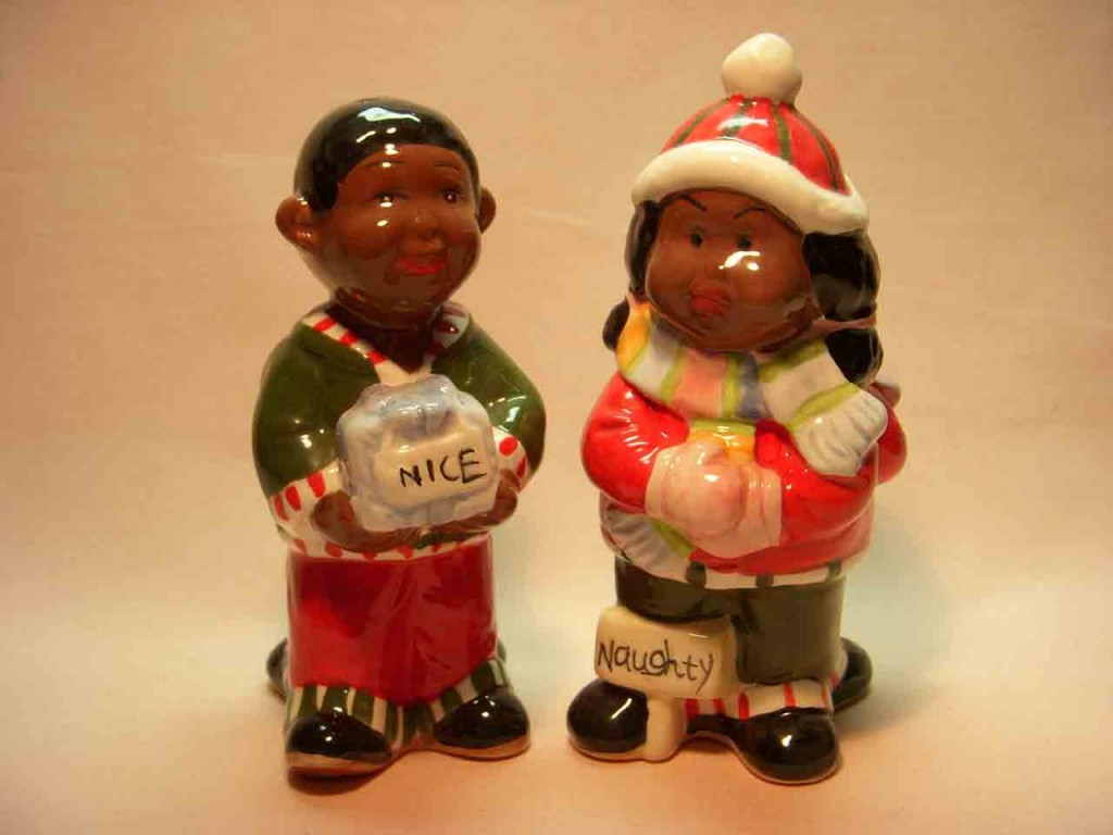 Introduction to Shaker Types - Turnabouts - Black Americana Christmas couple