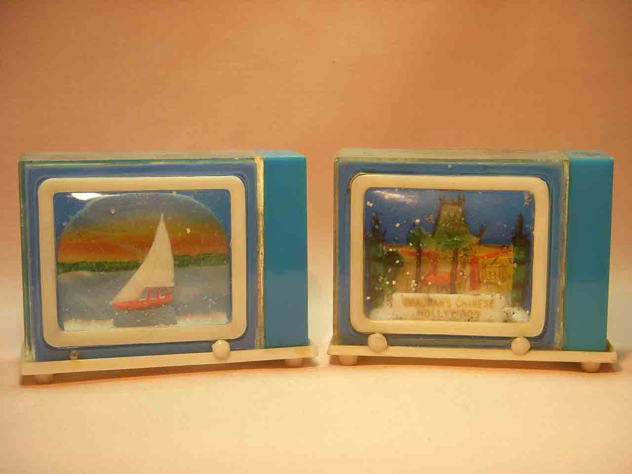 Snow globes sailboat salt and pepper shakers