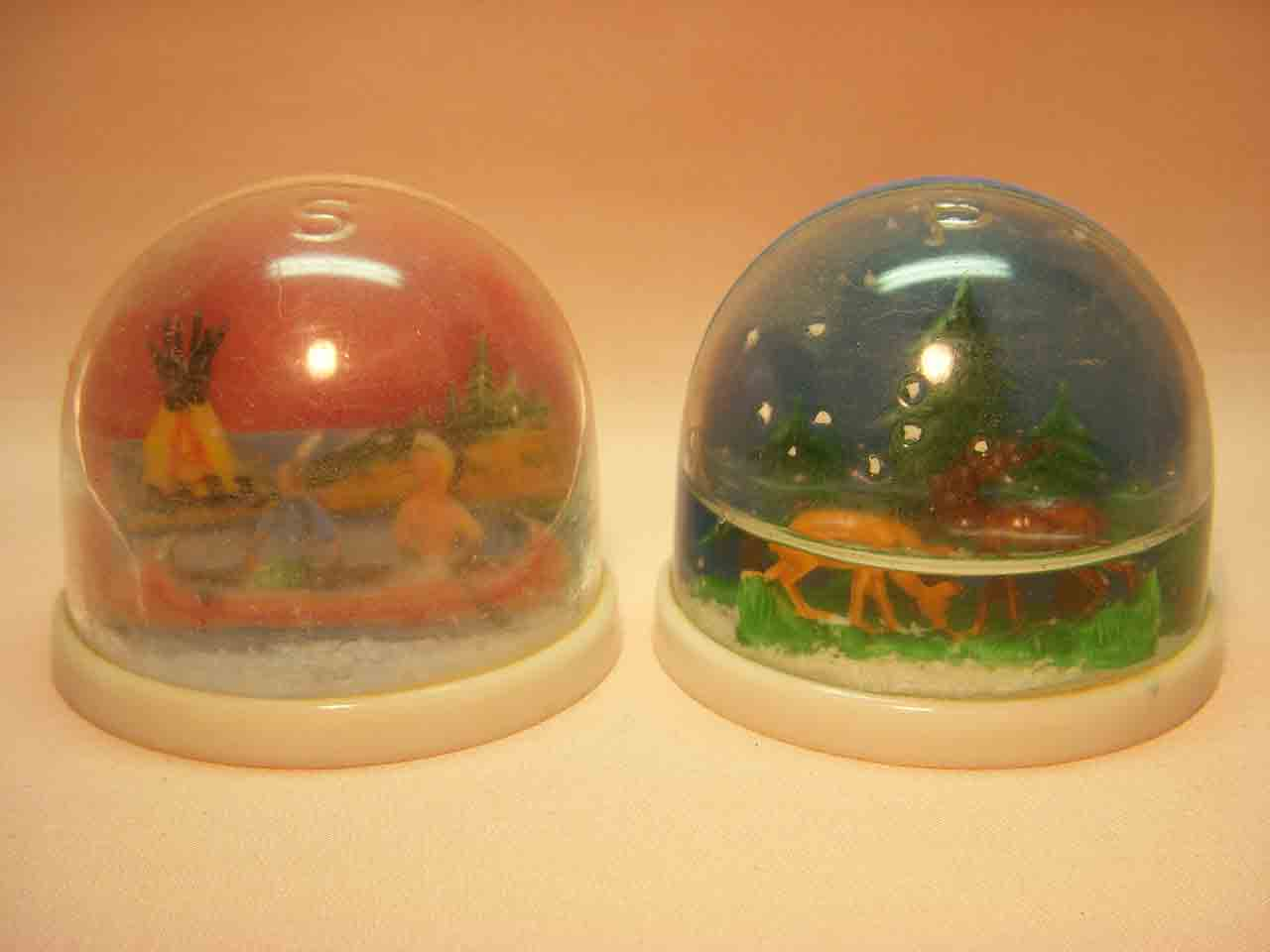 Snow globes deer and Native Americans salt and pepper shakers
