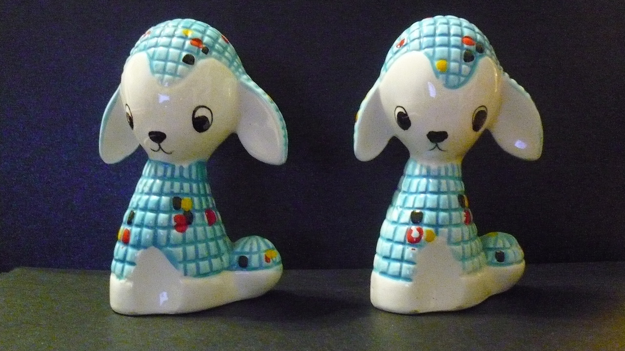 Vintage sheep salt and pepper shakers