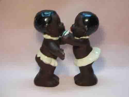 Goebel huggers salt and pepper shakers - Black African kids