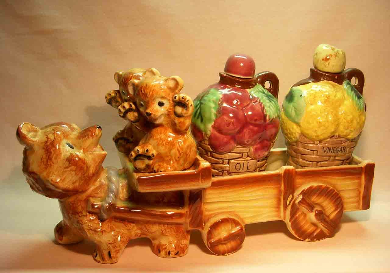 Bear pulling bear cubs and cart salt and pepper shaker with oil and vinegar jars