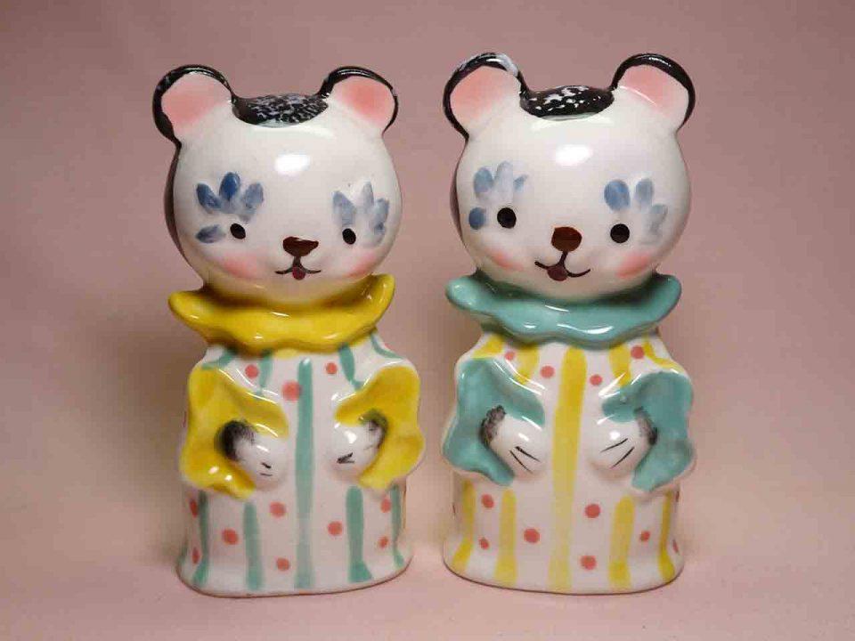 Animals in pajamas series salt and pepper shakers - panda bears