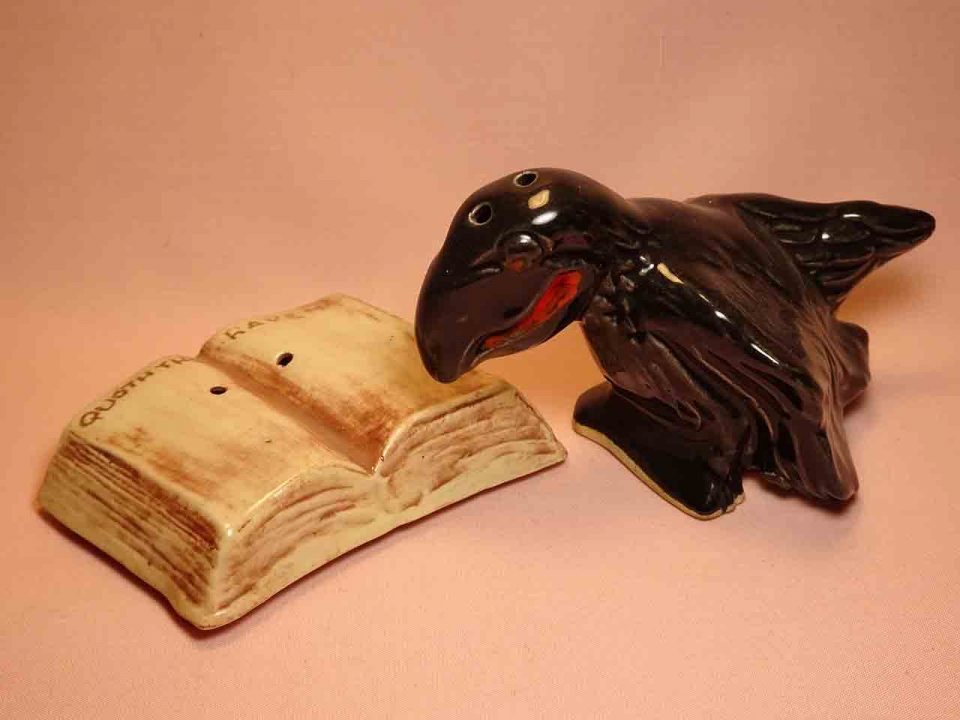 The Raven salt and pepper shakers