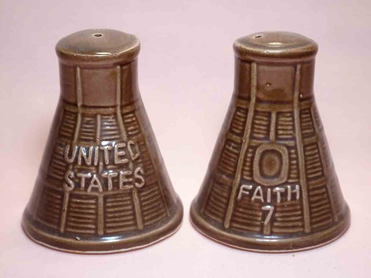 NASA Faith 7 spacecraft salt and pepper shakers