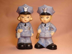 Lego Japan children dressed as various occupations salt and pepper shakers - police officers