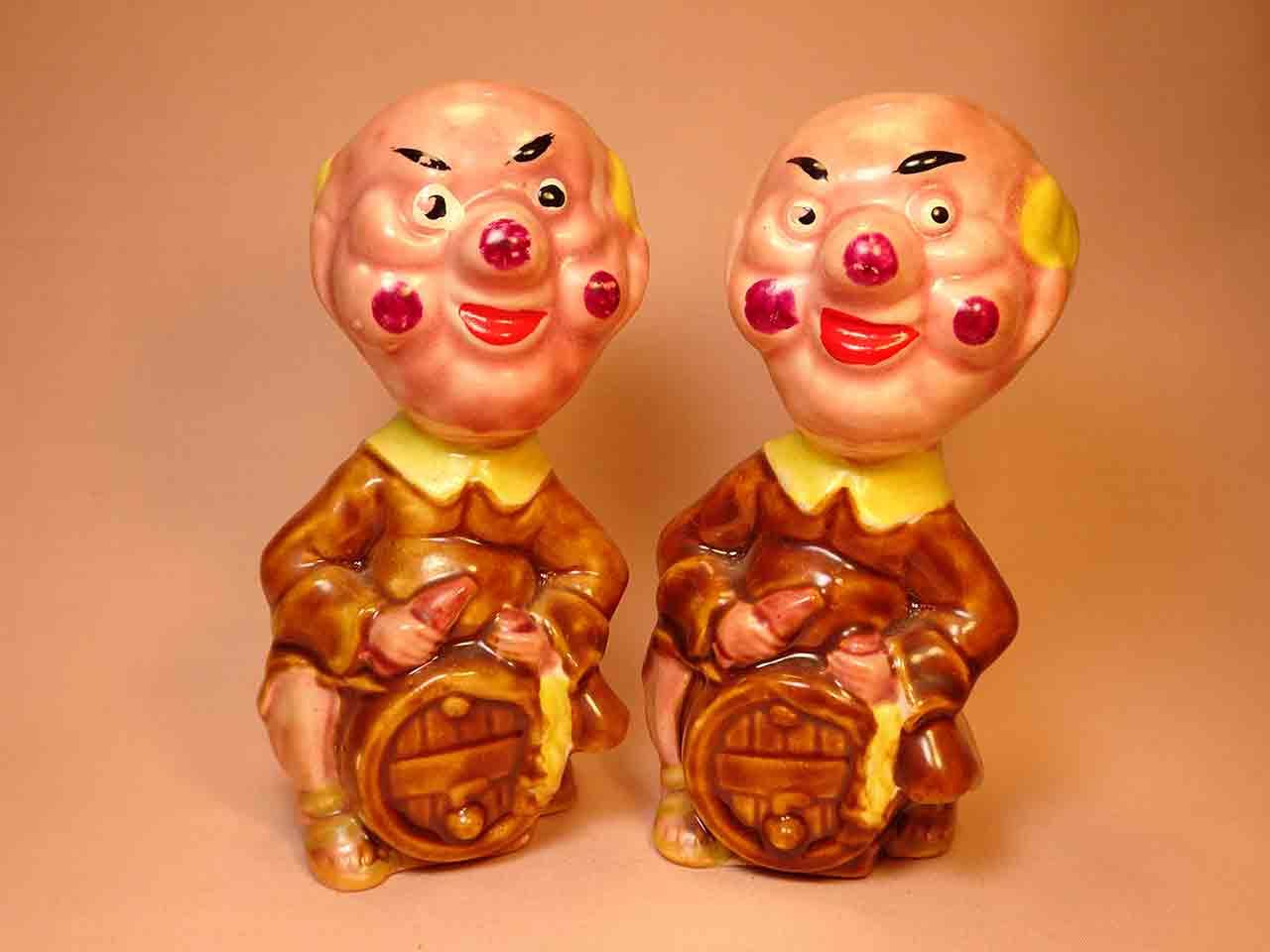 Clown-like strange fellows salt and pepper shakers - monks