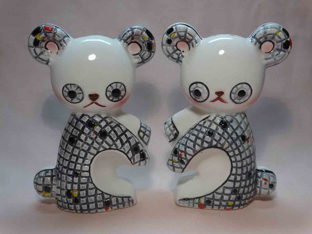 Mosaic bears salt and pepper shakers