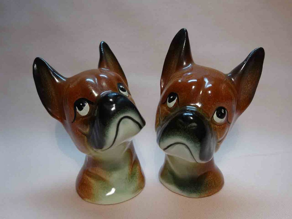 Ucagco Boxer dog heads salt and pepper shakers