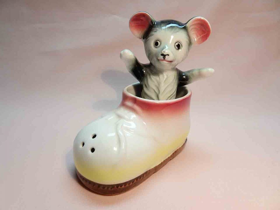 Bear in shoe salt and pepper shakers