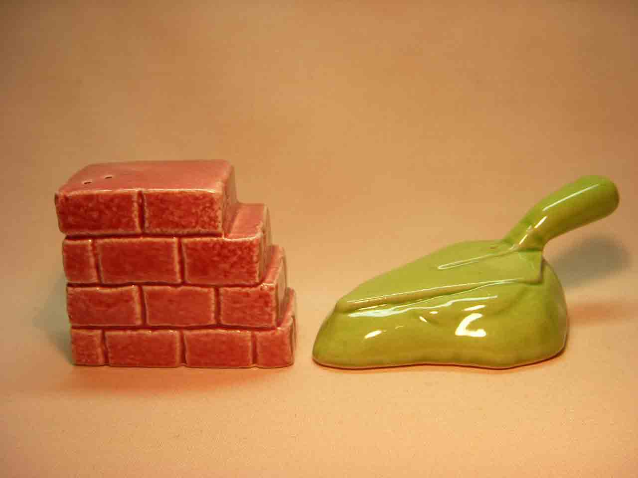 Go with brick mason's brick wall with tool salt and pepper shaker