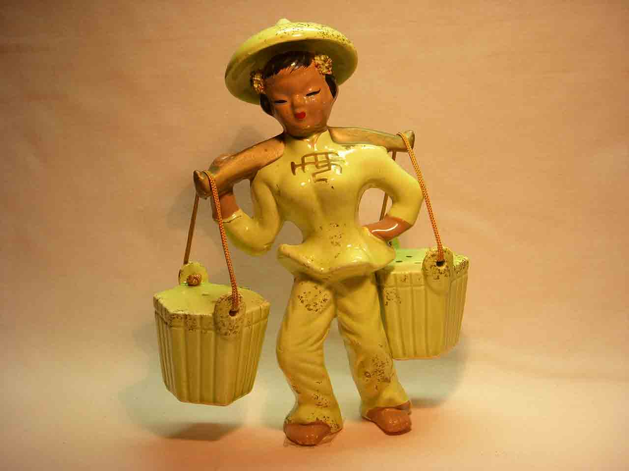 Asian women with hanging baskets salt and pepper shaker