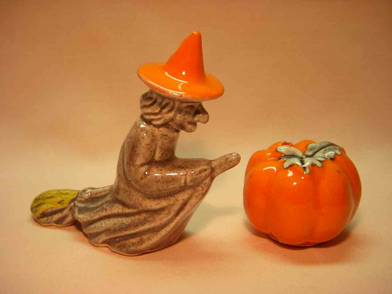 Go with Halloween witch with pumpkin salt and pepper shaker