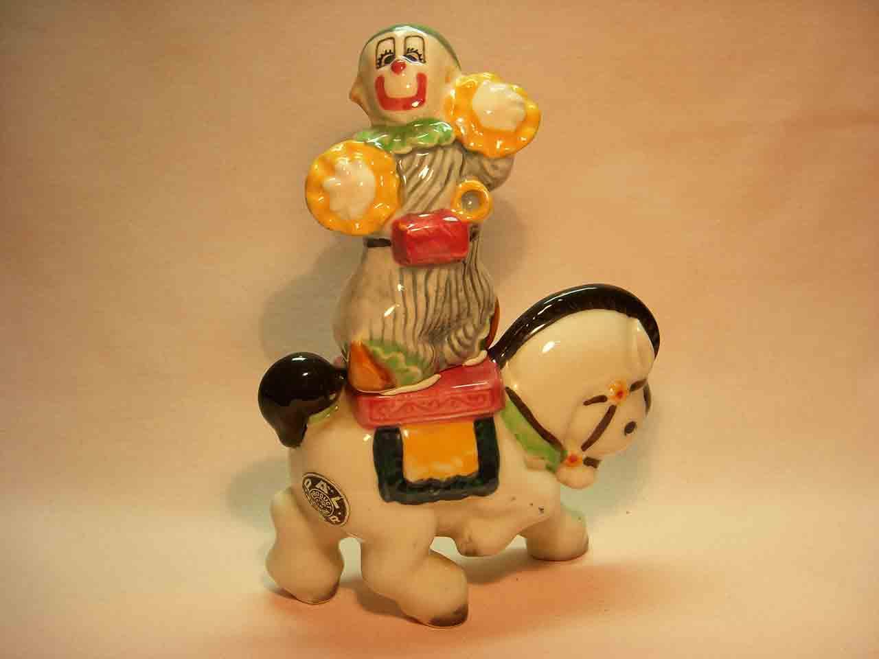 Clarabell the clown on a horse salt and pepper shaker