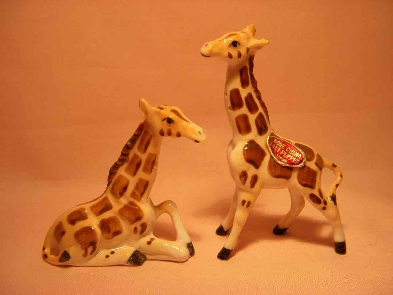 Mini Bone China giraffes salt and pepper shaker