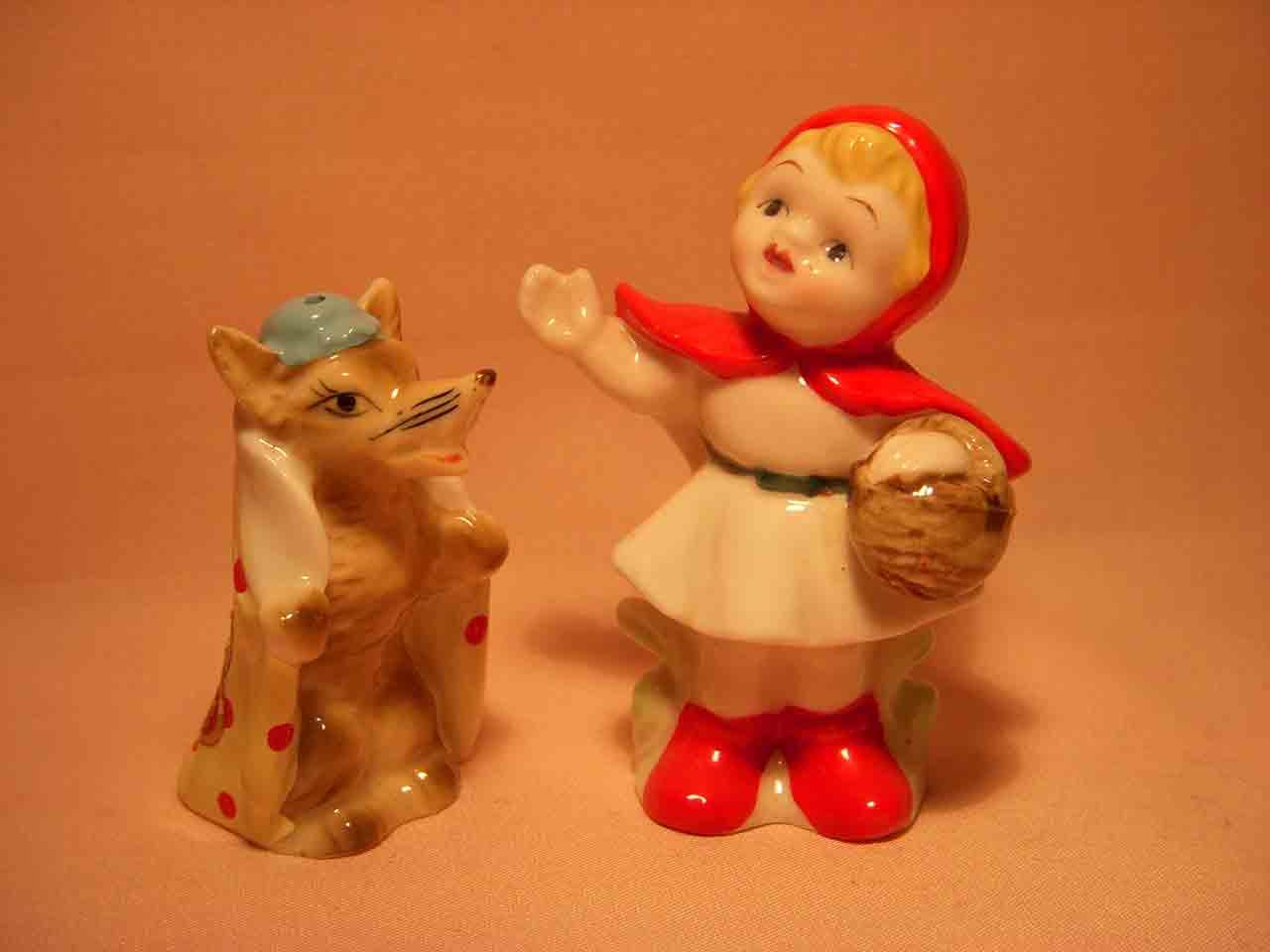 Miniature Bone China Little Red Riding Hood nursery rhyme salt and pepper shaker