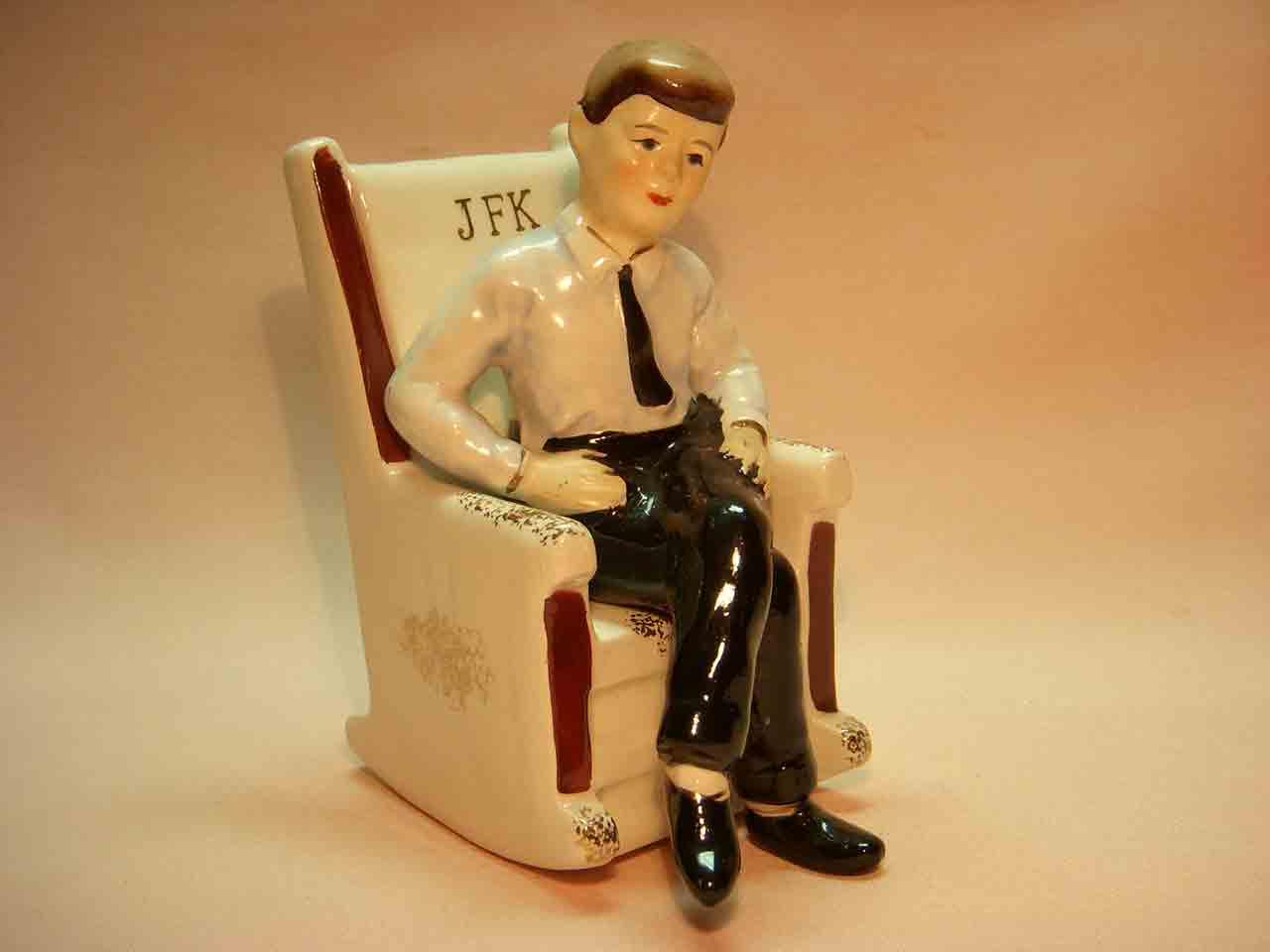 President John F. Kennedy in rocking chair salt and pepper shaker