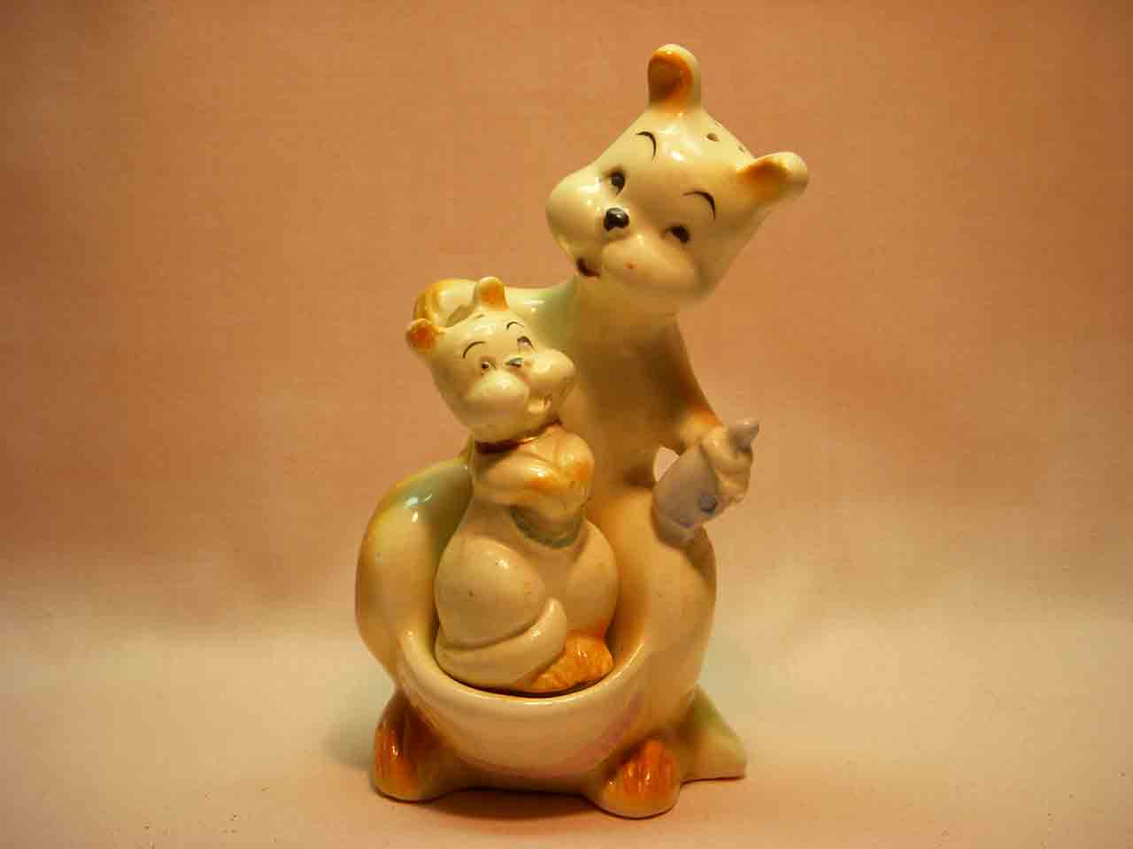 Nester baby joey kangaroo in mother's pouch salt and pepper shaker