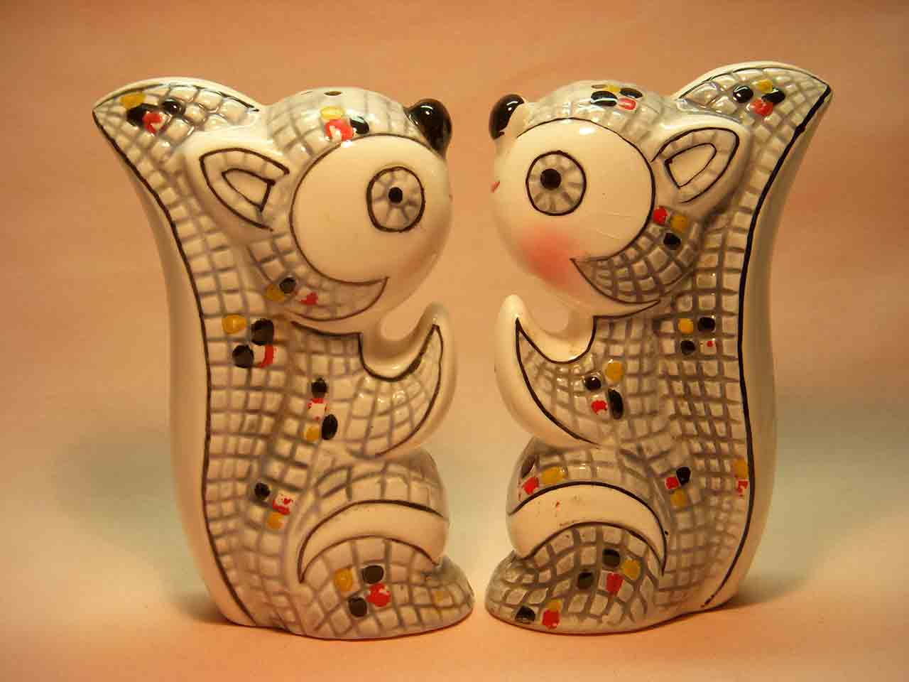 Mosaic squirrels salt and pepper shakers