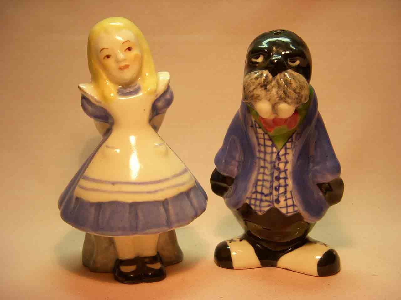 Brayton Laguna Alice (in Wonderland) and the Walrus salt and pepper shakers