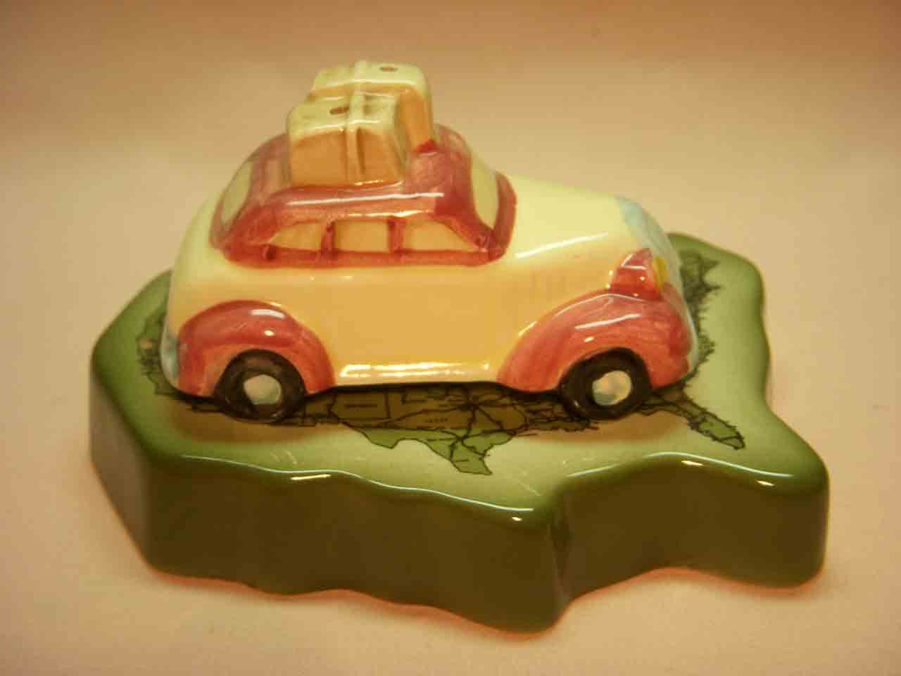 Car with map salt and pepper shakers