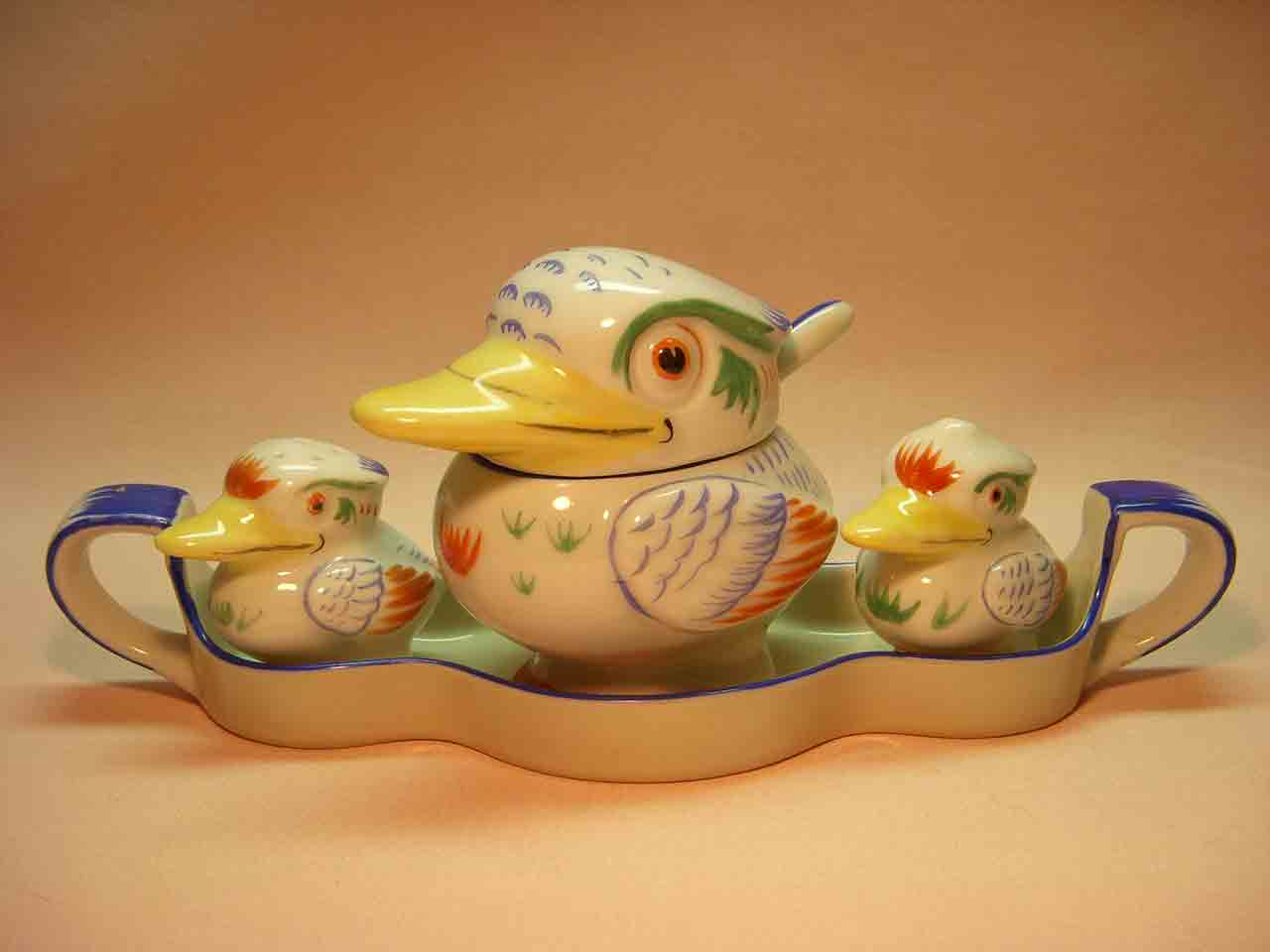 Water birds / ducks Noritake salt and pepper shakers and condiment set