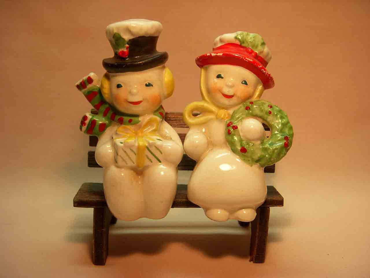 Christmas snowmen couple bench sitters salt and pepper shaker
