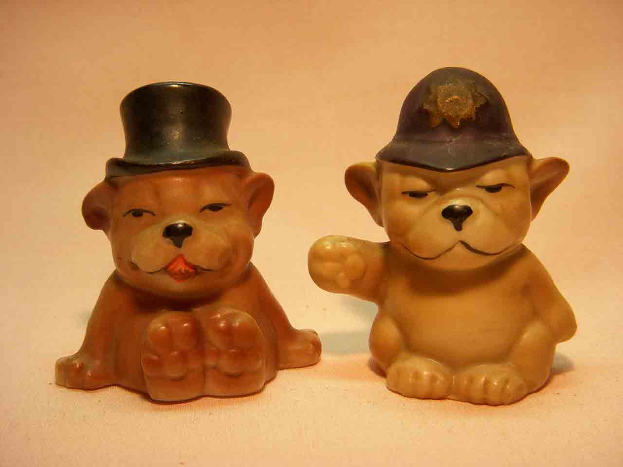 Germany Bonzo the dog as drunk and bobby salt and pepper shakers
