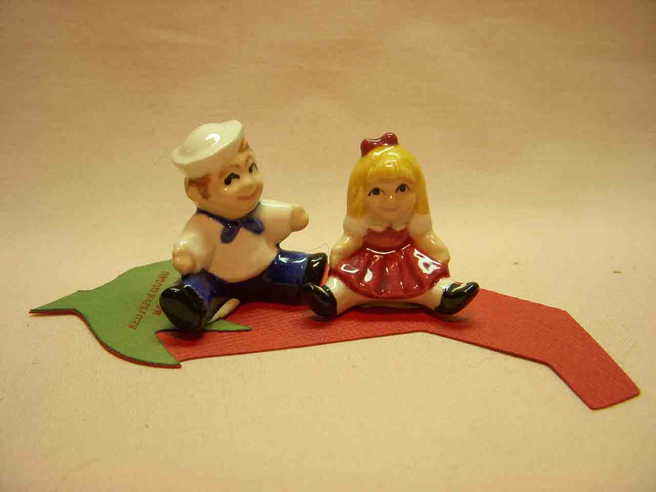 Mini sailor and girl salt and pepper shaker by Red Peppa Studio