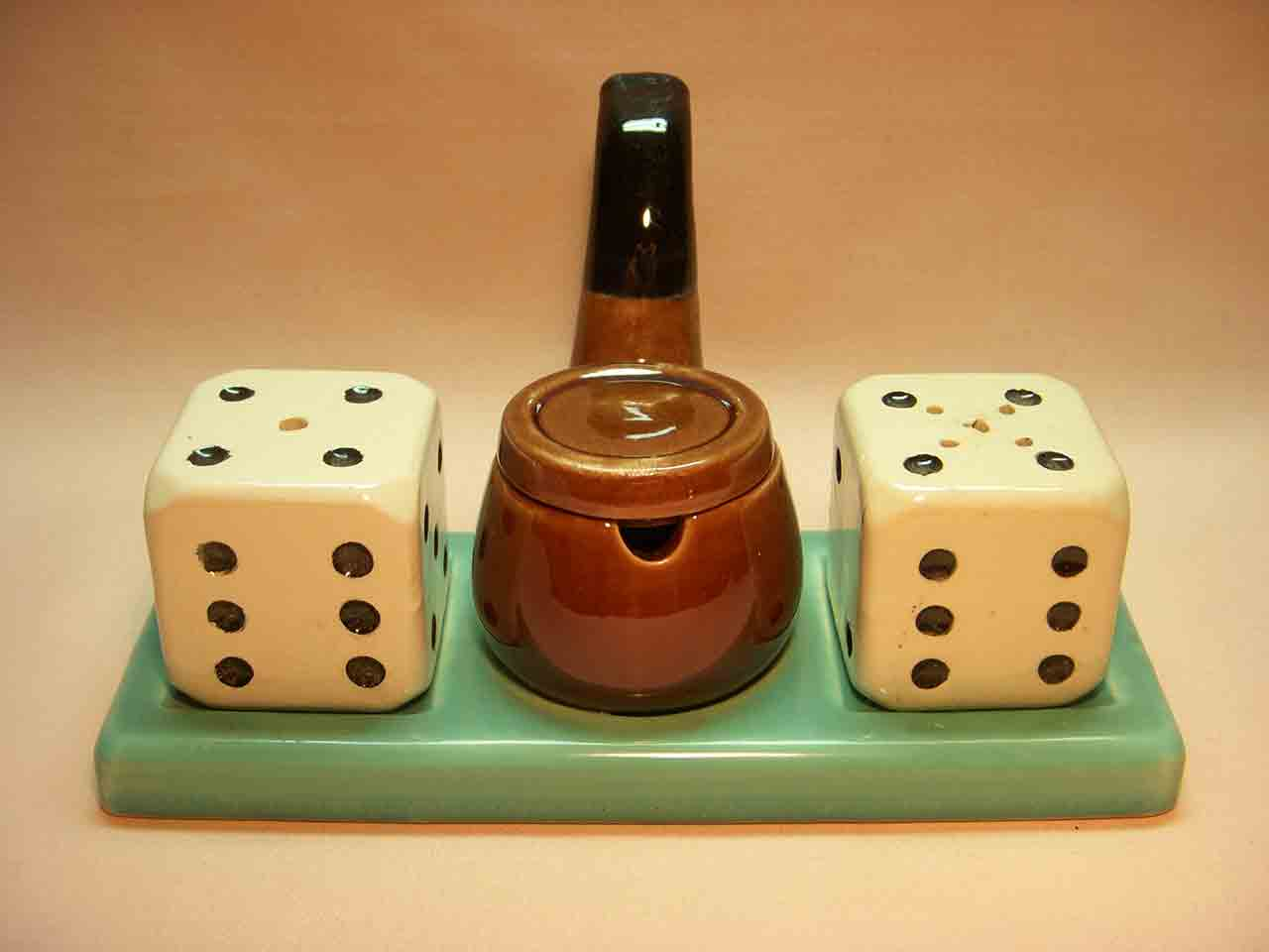 Pipe and dice condiment set salt and pepper shaker
