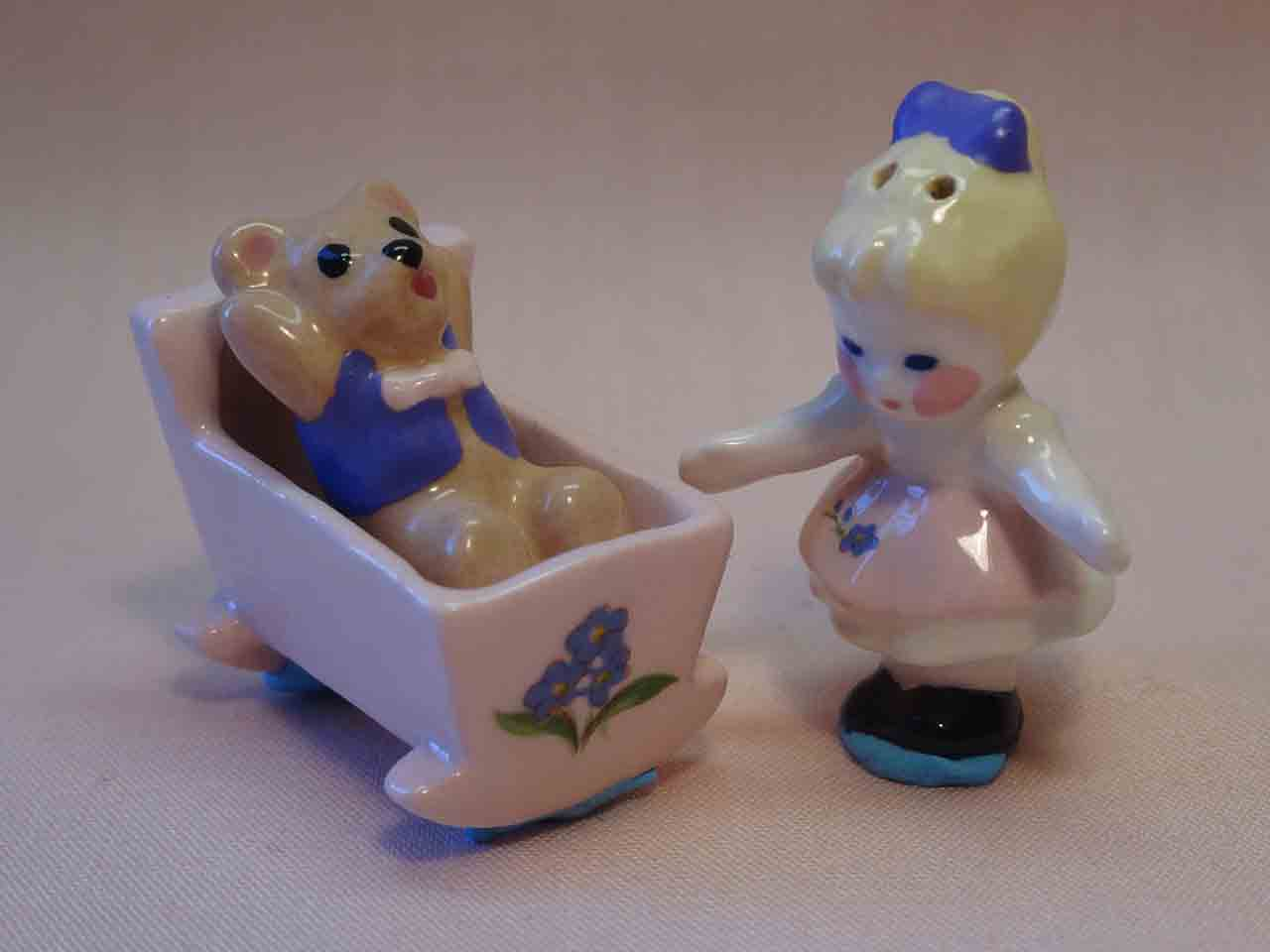 Miniature girl with teddy bear in cradle salt and pepper shaker by Sandy Srp